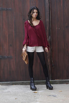 sweater vintage shorts - leather wooden Dolce Vita boots