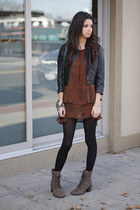 leather jacket vintage jacket - suede Vince Camuto boots
