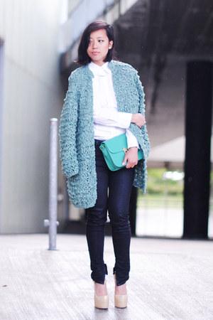 aquamarine kiro by kim cardigan - ivory D&G blouse - Zara pants