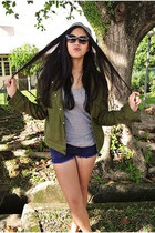 army Givenchy jacket - beanie DIY hat - moto Topshop shorts