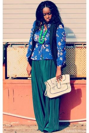 thrifted pants - Target bag - floral Target blouse