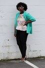 Thrifted-blazer-american-apparel-pants-peplum-h-m-top-heels