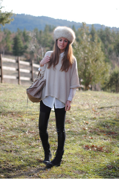 H&amp;M sweater - vintage hat - H&amp;M leggings - balenciaga bag