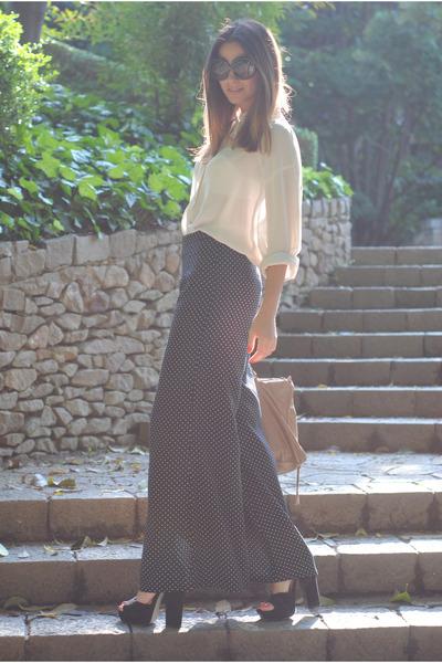 polka dot Palazzo pants - balenciaga bag - asos heels