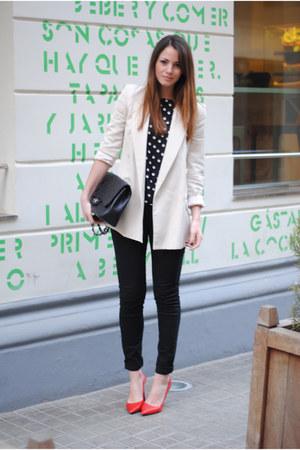 Chanel bag - Zara heels - Zara top