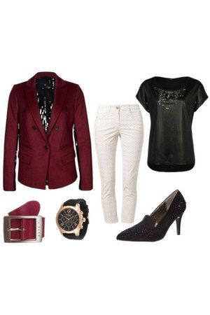 ruby red Bastyan blazer - black anna field pumps - black Aaiko t-shirt