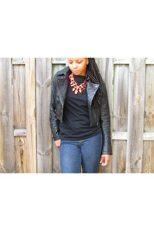 blue Gap jeans - black asos jacket - hot pink H&M necklace