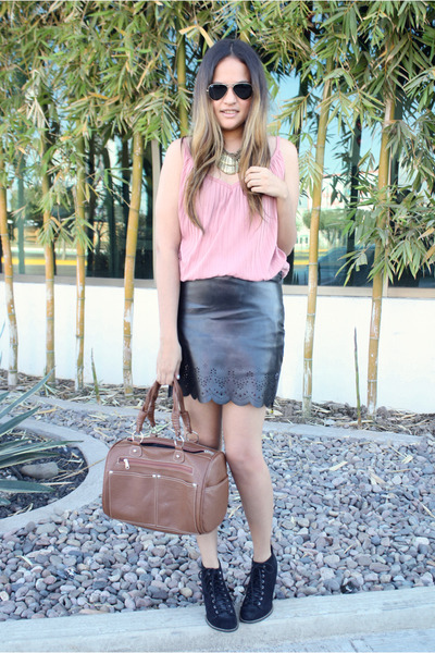 black leather pull&bear skirt - black lace up pull&bear boots