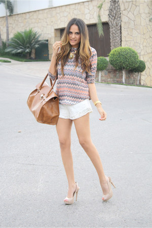 pink missoni pattern pull&amp;bear sweater - tawny big LOB bag