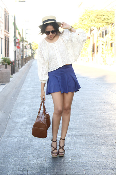 lace Sugarlips blouse - straw Forever 21 hat - navy Bershka skirt