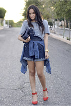navy denim vintage romper - ruby red Zara heels