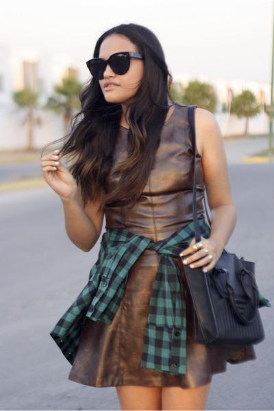 brown leather LOB dress - black audrey Celine sunglasses