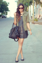 black sequins Zara dress - olive green military Piko 1988 jacket