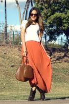 orange maxi LOB skirt - dark brown cowboy Zara boots - white basic Bershka shirt