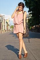 pink pink pull&bear dress - black black Zara bag - dark brown wooden LOB clogs