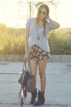 dark brown cowboy Zara boots - navy skull Zara scarf