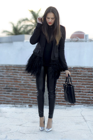 black leather Shasa leggings - black feathered unknown blazer - black Zara bag