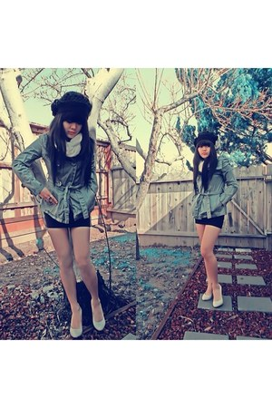 black Ross hat - green Ross jacket - white Forever 21 scarf - beige Ross pumps