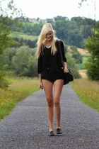 black shorts - black loafers - pink swimwear