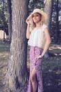 Beige-thrifted-hat-magenta-maxi-skirt-charlotte-russe-skirt