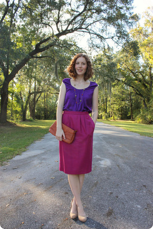 tawny thrifted bag - deep purple Gap blouse - red thrifted vintage skirt
