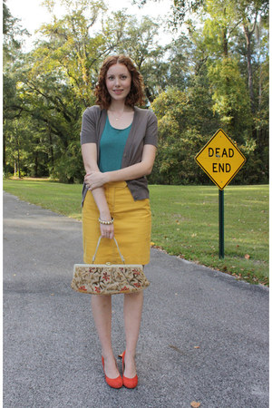 thrifted bag - mustard thrifted skirt - brown ann taylor cardigan