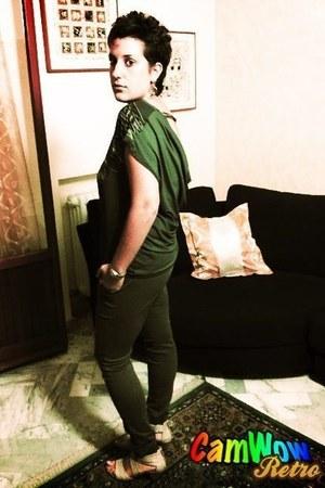 dark green Zara pants - dark green Bershka t-shirt