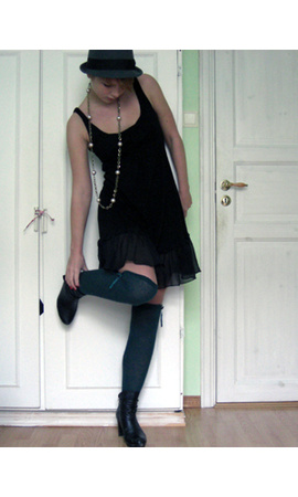 dress - tights - H&M hat - H&M necklace