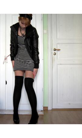 jacket - dress - tights - shoes