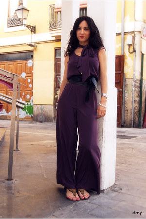 deep purple palazzo River Island suit - gold Camilas sandals - black Zara belt