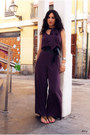 Deep-purple-palazzo-river-island-suit-gold-camilas-sandals-black-zara-belt