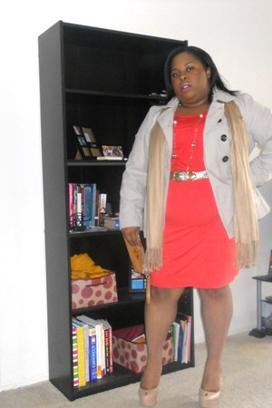 coral faux wrap Target dress - trench coat Old Navy coat