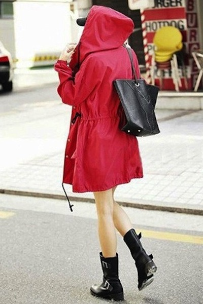 Red parka outfit