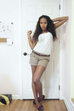white Forever 21 shirt - beige Forever 21 shorts