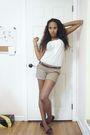 White-forever-21-shirt-beige-forever-21-shorts