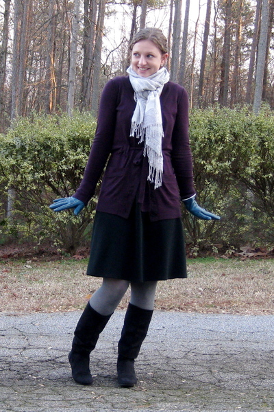 Target dress - Loft sweater - Target gloves - payless boots