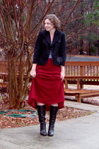 Ann Taylor Loft blazer - thrifted skirt - NY&CO top - Michael Kors boots - h&m r