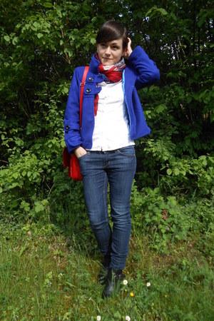 blazer - boots - scarf - bag - blouse