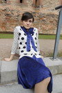 Purple-silk-dept-dress-ivory-polkadot-knit-orsay-cardigan