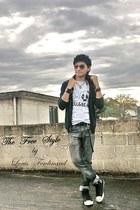 black pull&bear jacket - black Converse boots - silver pull&bear sweatshirt