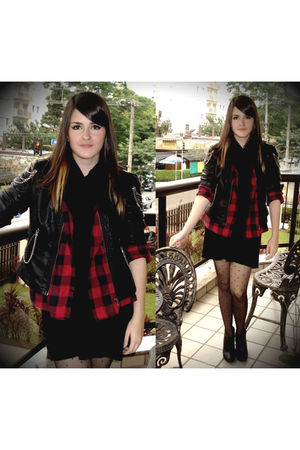 red shirt - black dress - black jacket