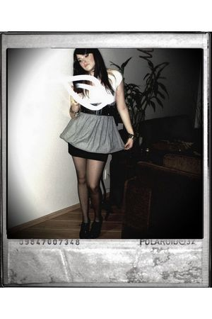 black skirt - gray skirt - white top