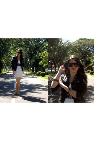 black jacket - white dress