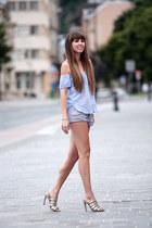 pull&bear shorts - Stradivarius top - Mango heels
