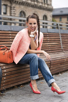 Promod blazer - Zara jeans - carrot orange Marks and Spencer bag