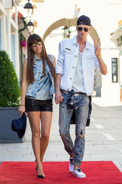 Lacoste hat - Karl Lagerfeld shorts - philipp plein vest