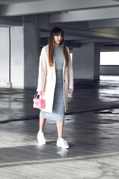 Mango coat - Furla bag - Adidas Superstar sneakers - Stradivarius skirt