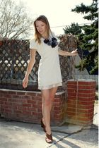 white French Connection dress - pink thrifted skirt - brown franco sarto shoes -