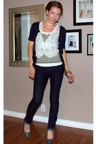 blue Jacob cardigan - white Tristan vest - black H&M top - blue winners jeans -