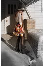 White-joe-shirt-pink-le-chateau-skirt-brown-le-chateau-boots-gray-american